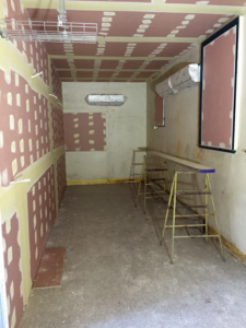the new room under constructions with bare walls
